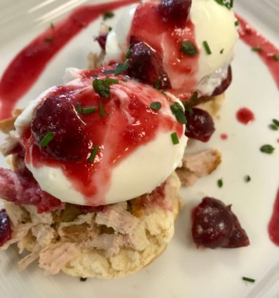 roasted pork and cherry eggs benedict